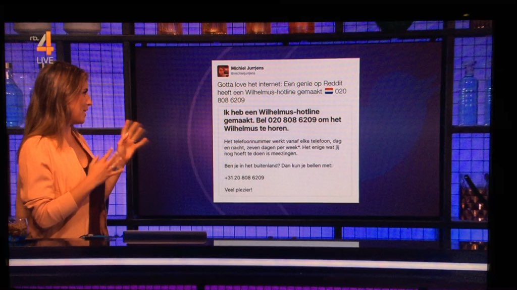Photo of a TV showing RTL 4, showing the tweet, showing the reddit post, showing the hotline